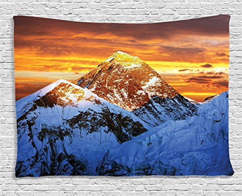 Paradise Sunset Tapestry - Ambesonne Lake House Decor Tapestry by, Sunlights on Summit of Everest Scenery Sunset in Natural Paradise, Wall Hanging for Bedroom Living Room Dorm, 80WX60L Inches, Yellow White Brown