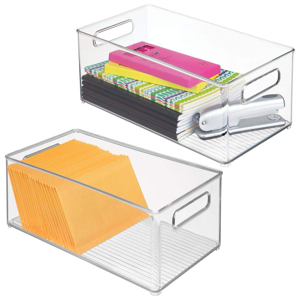 "mDesign Plastic Storage Bin Container, Home Office Desk and Drawer Organizer Tote with Handles - Holds Gel Pens, Erasers, Tape, Pens, Pencils, Markers, Envelopes - 14.5"" Long, 2 Pack - Clear"