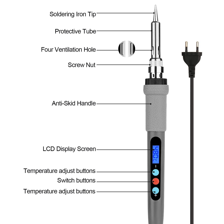 Soldador de Estaño Digital, IMAGE 60W / 220V Soldador Eléctrico LED Temperatura Ajustable, Interruptor ON/OFF, Temperatura Ajustable, con 5 PCS Puntas ...