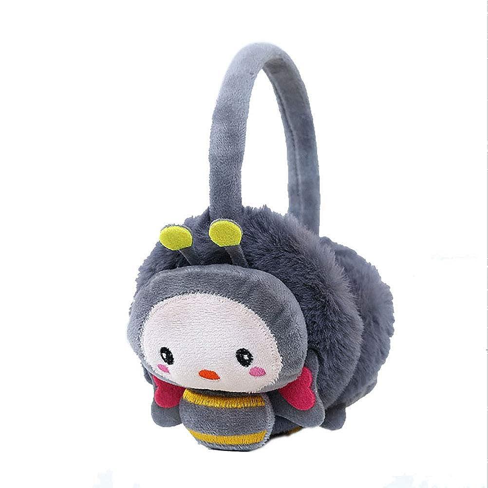 RGANT Plush Cartoon Bee Earmuffs, Adjustable Adult Kid Winter Warm Headband