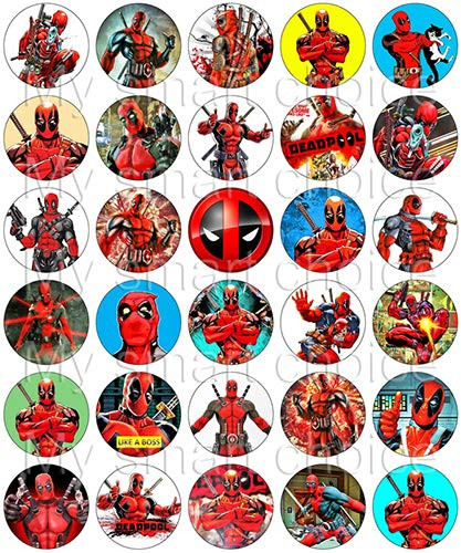 30 x Edible Cupcake Toppers - Deadpool Awesome Party Themed Collection of Edible Cake Decorations | Uncut Edible Prints on Wafer Sheet