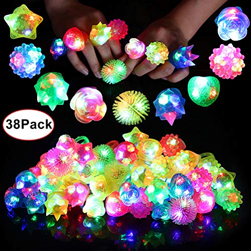 Neovoo Prizes for Kids Party Favors Light Up Rings 38 Pack Flashing LED Ring Classroom Prizes Glow in The Dark Party Supplies Jelly Novelty Play Rings Bulk Toys Birthday Celebration Gifts