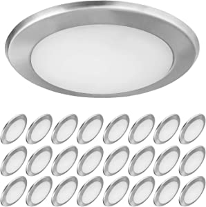 OSTWIN (24 Pack) 6 Inch LED Disk Light, Dimmable Low Profile Ceiling Light, Brushed Nickel Finish Flush Mount Fixture, 15W(100W Eq.) 1300Lm 4000K, J-Box or Recessed Can, Wet Location, ETL&Energy Star