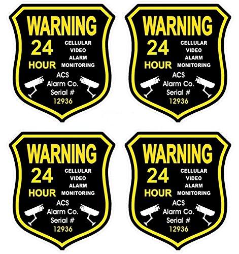 4 Pc Superb Popular GPS Warning Security Alarm Sticker Sign Video Recording Boat Decals Anti-Burglar Size 3.5