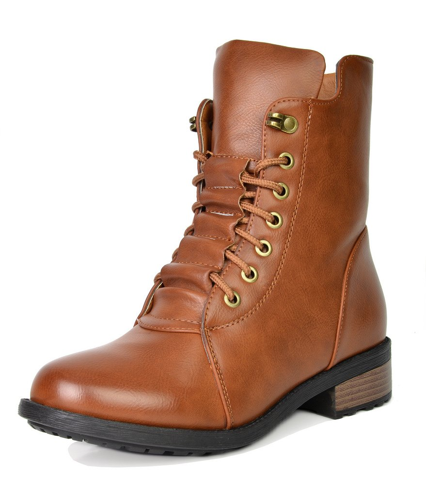 DREAM PAIRS Women's Panther Camel Mid Calf Military Combat Boots Size 8 M US