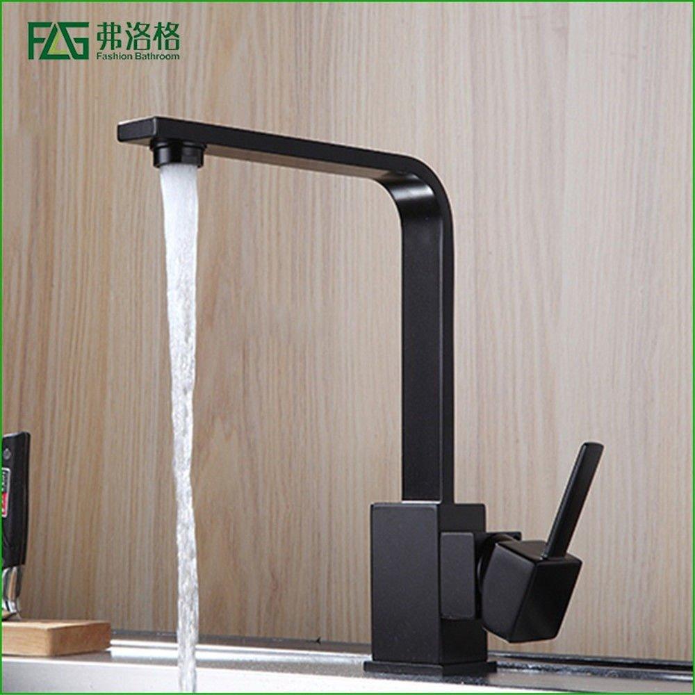 AQMMi Bathroom Vanity Sink Faucet Brass Black Painting Hot and Cold Water Swivel Bathroom Basin Sink Tap Bathroom Faucet
