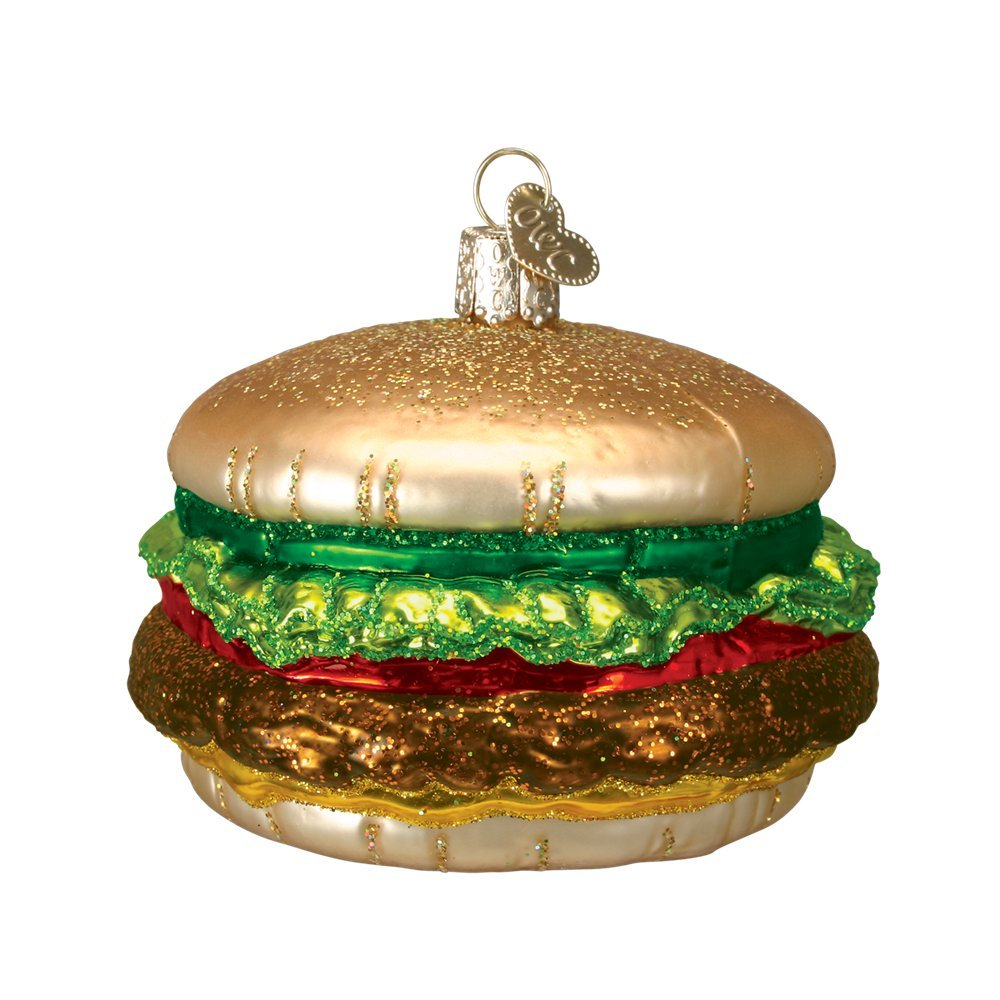 Old World Christmas Glass Blown Ornament with S-Hook and Gift Box, Food Collection (Cheeseburger)