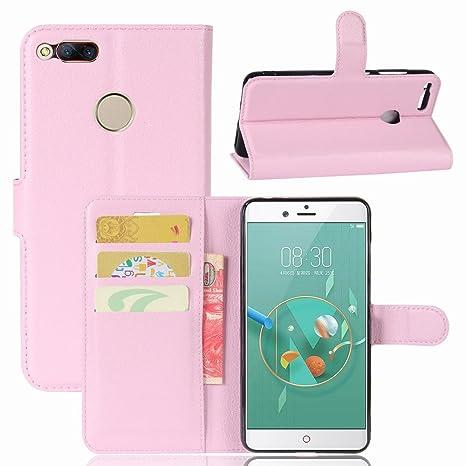 Guran® Funda de Cuero PU Para ZTE Nubia Z7 Mini Smartphone Función de Soporte con Ranura para Tarjetas Flip Case Cover Caso-rosa