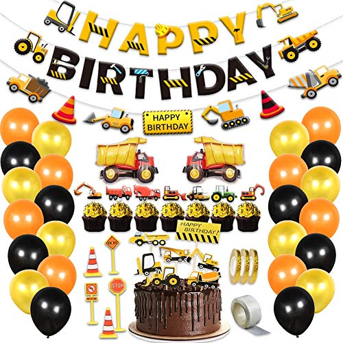 Construction Birthday Theme Party Supplies Decorations for Kids Boys Dump Trucks Transportation Themed Favors Sets Pack with Cup Cake Toppers Balloons Banner 58PCS