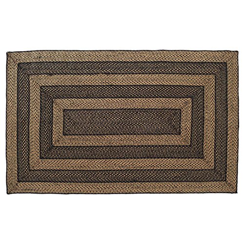 India House Black Rectangle Rug - VHC Brands Classic Country Primitive Flooring - Farmhouse Jute Black Rug, 5' x 8'