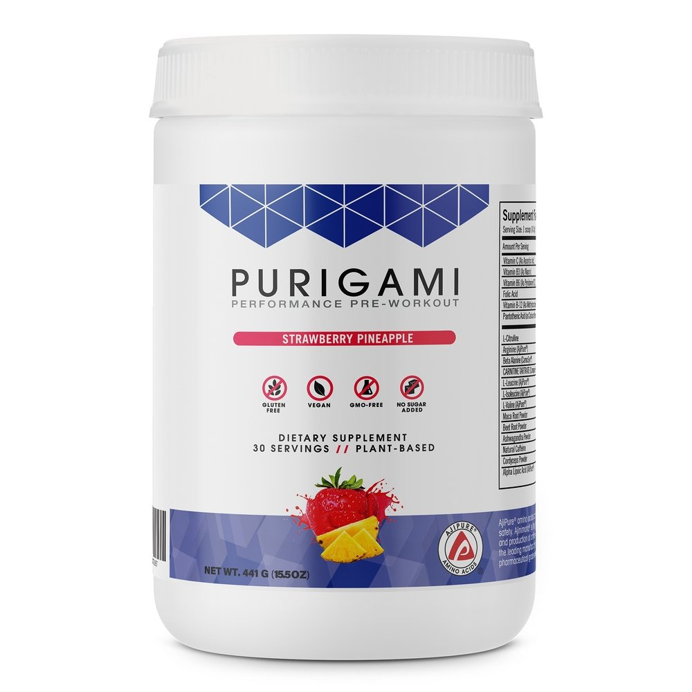 Purigami Performance Pre-Workout Powder - Natural Nitric Oxide Preworkout Supplement for Athletes to Boost Strength, Energy, Endurance, Recovery. No Sugar, Naturally Sweetened, Non-GMO & Gluten Free.