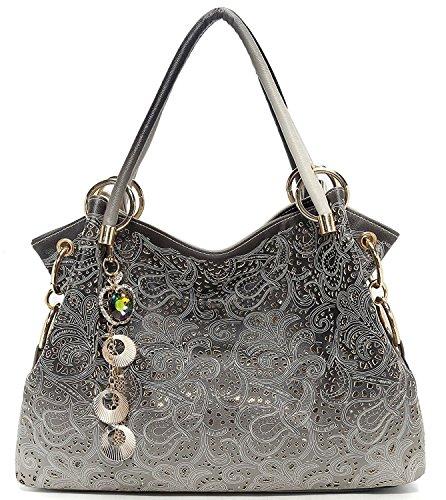 Vincico Womens Grey Fashion Designer Pu Leather Bag Top Handle Tote Purse Shoulder Bags Ladies Handbags