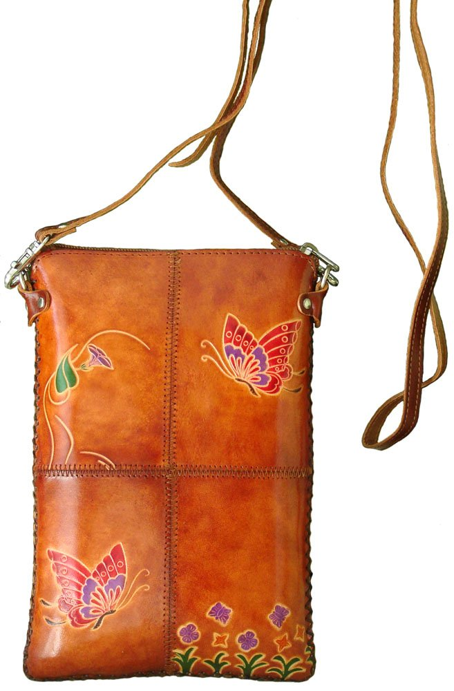 Handmade Genuine Leather Brown Messenger Bag,lovely Butterfly and Flower Pattern