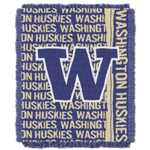 The Northwest Company Officially Licensed NCAA Washington Huskies Double Play Jacquard Throw Blanket, 48