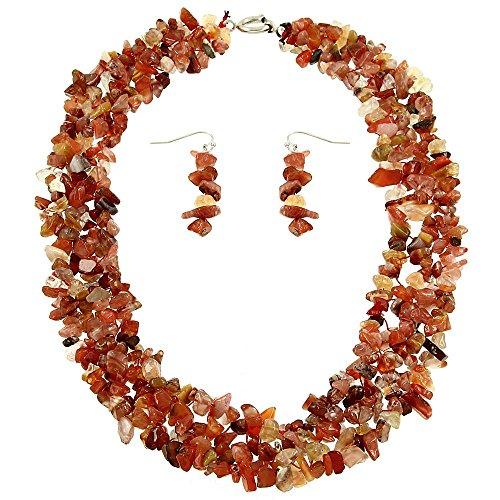 Falari Natural Gemstone Necklace Earring Set Red Agate