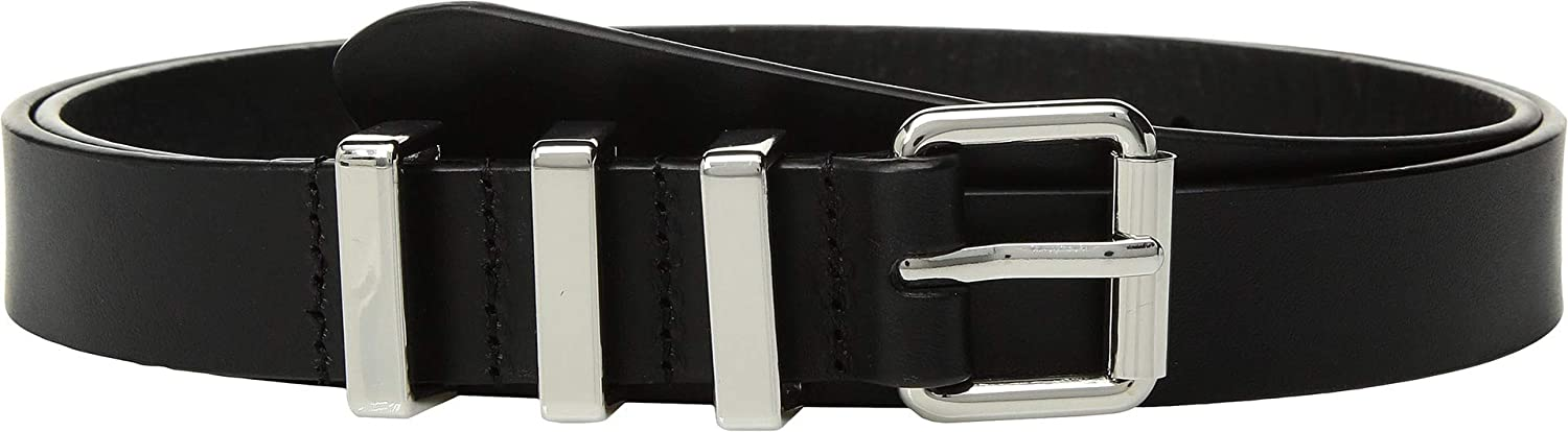 Rebecca Minkoff Womens 25 mm Flat Strap Smooth Leather Belts Black/Nickel MD