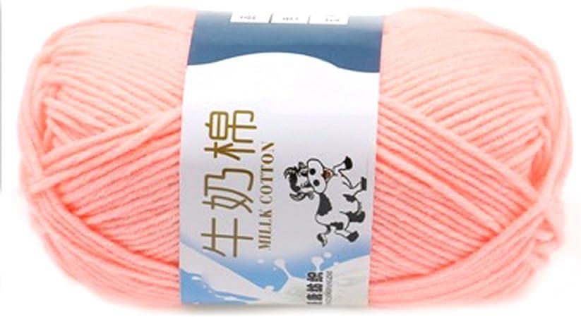 Suave Suave Leche de algodón natural de la mano de tejer lana de lana bola del hilado del bebé para naves de carne rosada: Amazon.es: Hogar