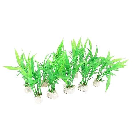 GLOGLOW 10 Unidades Artificial Acuario plástico Plantas con Base de Cerámica, Color Verde Agua Agua