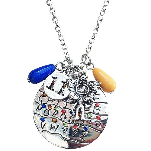 Orion Creations Collana di ciondolo con ciondoli di luci alfabeto natale di Stranger Things
