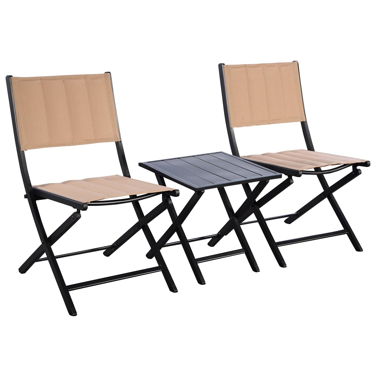 Giantex 3PCS Steel Folding Square Table Chairs Set Bistro Garden Furniture