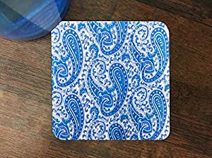 Blue Paisley Pattern Silicone Drink Beverage Coaster 4 Pack by Debbie's Designs