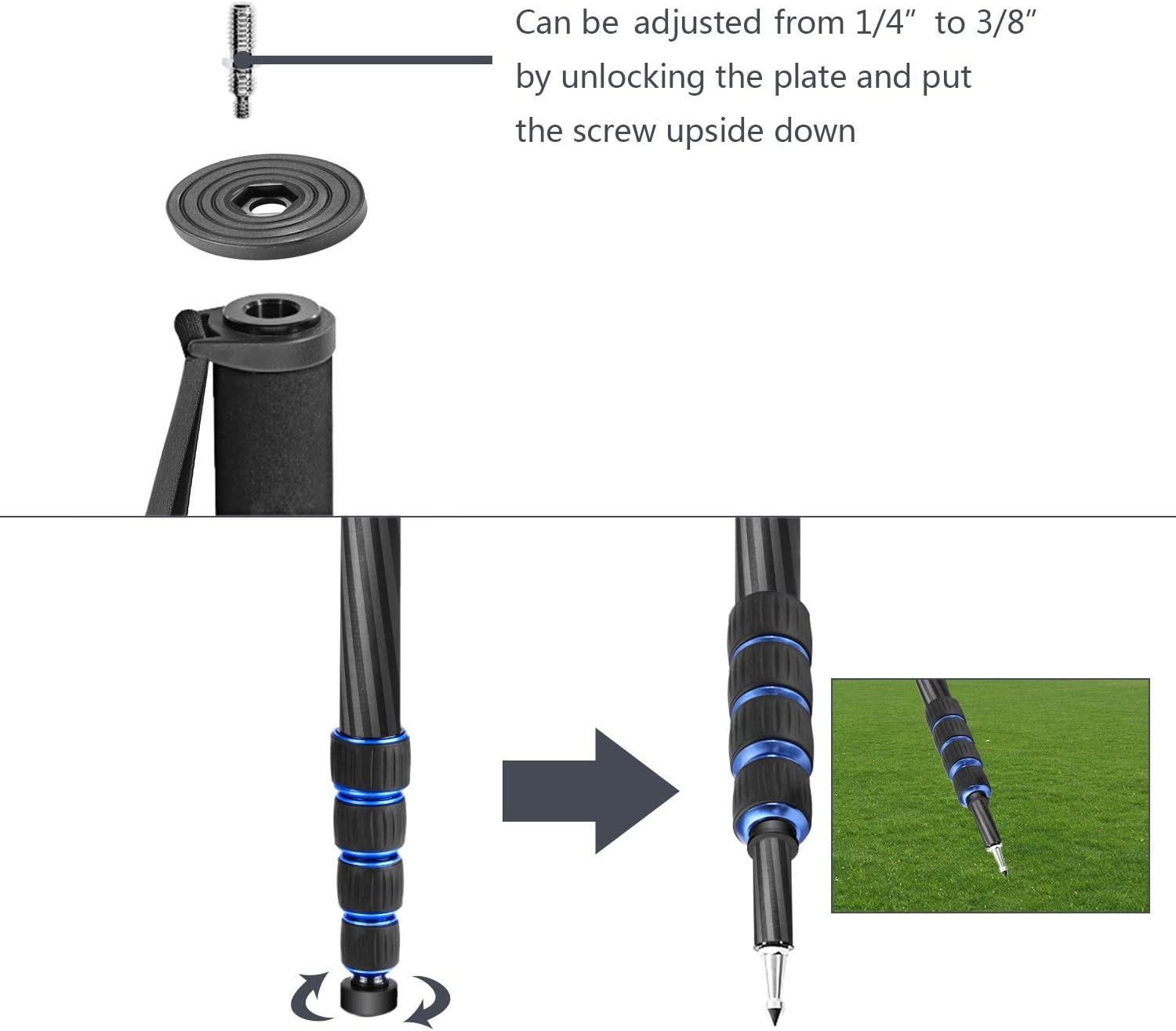 Payload up to 11 pounds//5 kilograms Neewer Extendable Camera Carbon Fiber Monopod with Removable Foldable Tripod Support Base: 5-Section Leg Max 66 inches for Canon Nikon Sony DSLR Cameras