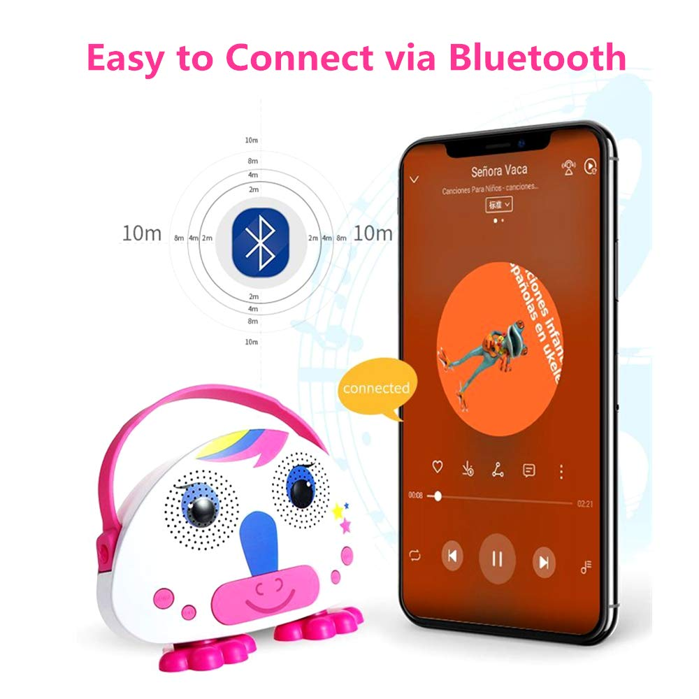 OceanEC Kids Bluetooth Karaoke Machine with Microphone, Rechargeable Children's Wireless Loudspeaker Portable Cartoon Karaoke Music MP3 Player Toy with Microphone for Party Gift (Pink) by OceanEC (Image #4)