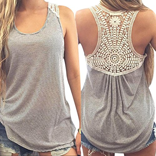 AIMTOPPY Women Summer Lace Vest Top Short Sleeve Blouse Casual Tank Tops T-Shirt (M, Gray)
