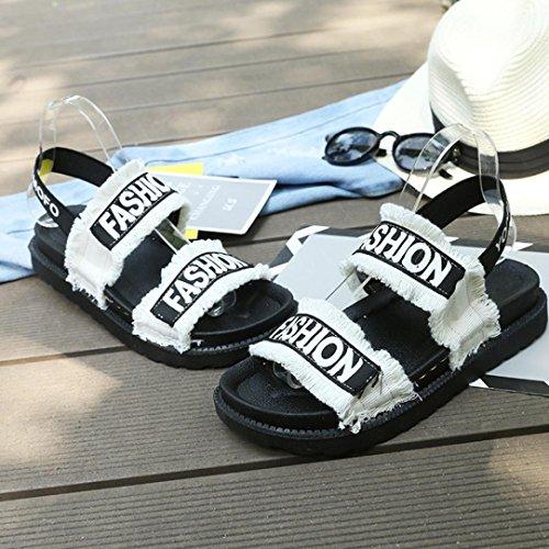 Comodi Piatti Bianchi Spessi Tacco Muium Sandali Donna Moda Bottoni qS6w4U