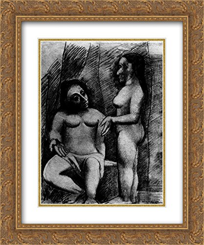 Pablo Picasso 2x Matted 20x24 Gold Ornate Framed Art Print 'Seated nude and standing nude'