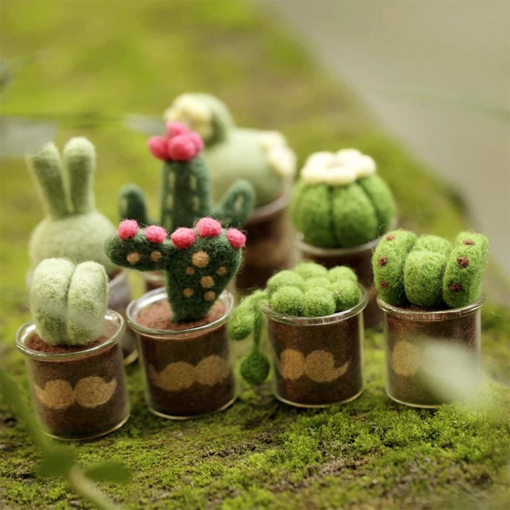 Full Range of Needle Felting Kit Finger Guards Tools Kit Glass Pots Foam Mat Kissbuty Cactus Wool Felted Set for Adults and Beginners Including Wool Roving for 8 Succulents Needles