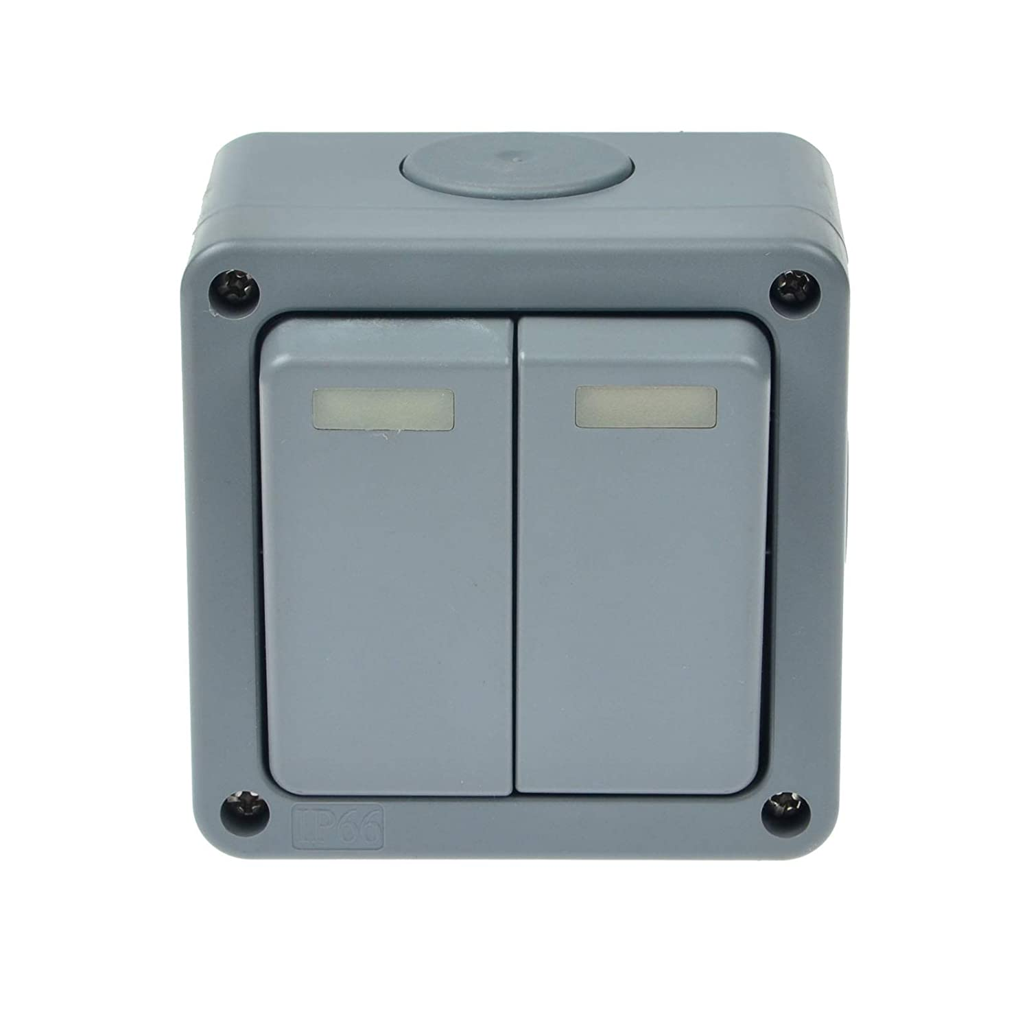 Waterproof Outdoor 13A 2 Gang Storm Switched Socket Neon Double IP66 Outside Use