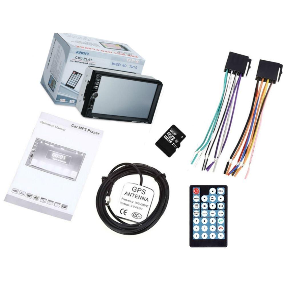 Nrpfell 7021G Ecran Tactile de 7 Pouces TFT Lecteur de Voiture MP5 2 din Radio Stereo de Voiture Multimedia Bluetooth FM Carte GPS Lecteur Video telecommande