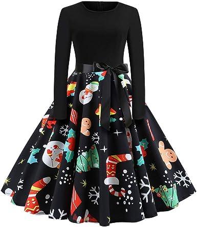 Amazon.com: ZEFOTIM Halloween Christmas Dresses 2020, Women Vintage Long  Sleeve 50s Housewife Evening Party Prom Dress: Clothing