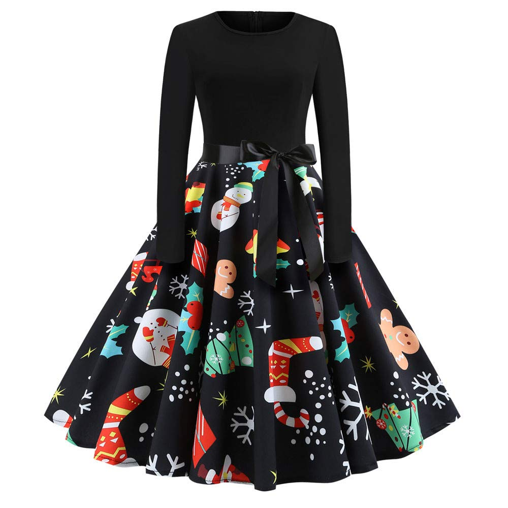 Makeupstore Women's Vintage Print Long Sleeve Christmas Evening Party Swing Dress Chrismas Dress159