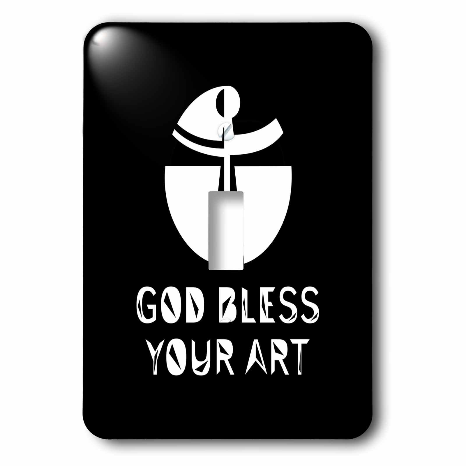 3dRose Alexis Design - Christian - Modernist cross, the text May God Bless Your Art on black - Light Switch Covers - single toggle switch (lsp_286204_1)