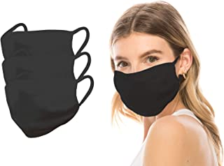 product image for Kurve 3 Packs Black Fashion Masks, Unisex Nylon Spandex Mouth Masks, Washable, Breathable, Reusable Masks, Made in U.S.A. (One Size, Black-3Pack)