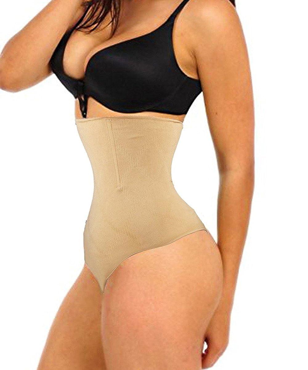 f143468172b FLORATA Women s High Waist Body Shaper Slim Tummy Control Underwear Cincher  Thong Panty Shapewear at Amazon Women s Clothing store