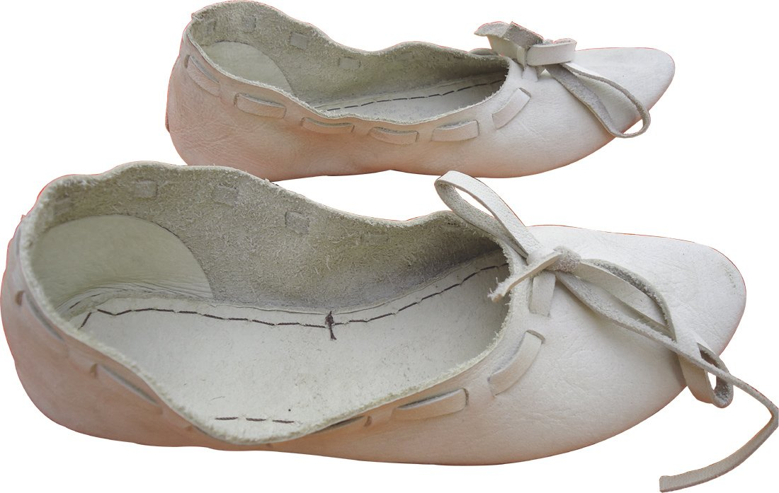 Women's White Medieval Natural Leather Flat Shoes - DeluxeAdultCostumes.com