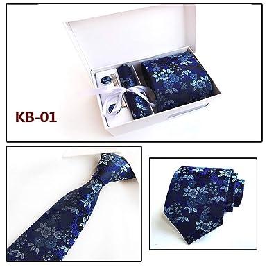 XiaoHeJD Conjuntos de corbata de moda Corbata azul para hombre ...