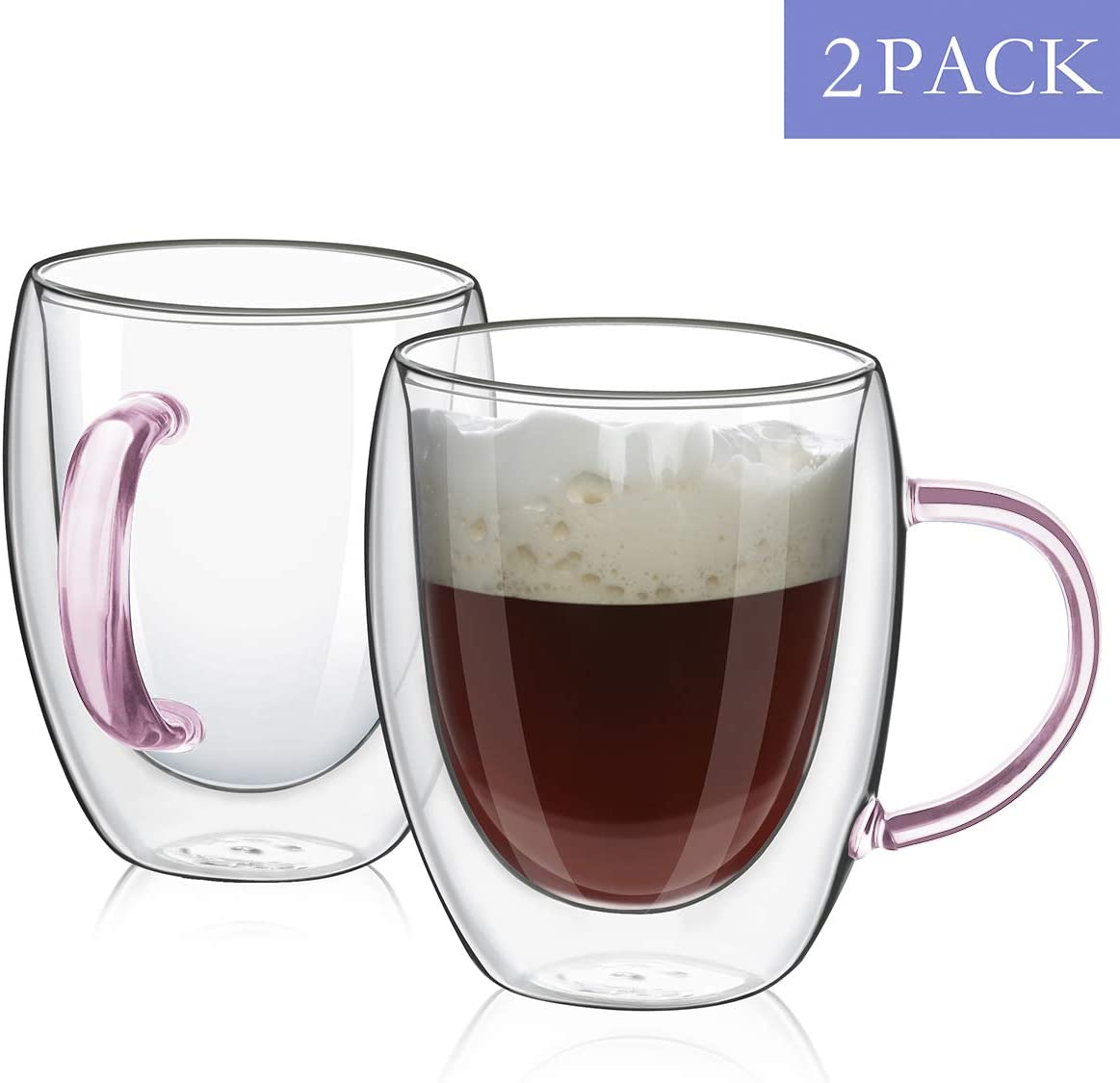 Tea MEWAY Coffee Mugs,Clear Double Wall Insulated Glass with Color Handle for Coffee Latte Blue, 2 Cappuccino