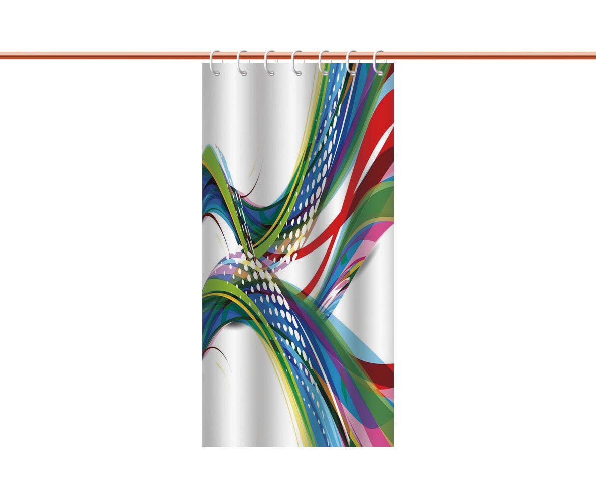 iPrint Upscale Shower Curtain [ Colorful,Active Sports Inspired Digital Wave Like Abstract and Ombre Vivid Modern Image,Multicolor ] Shower Curtain with Hooks