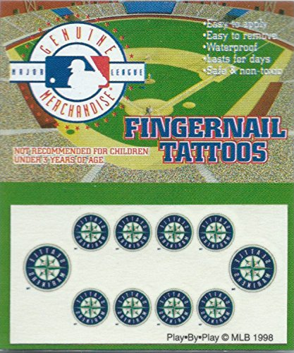 (Seattle Mariners Fingernail Tattoos Set of 10 Decal Sticker Licensed MLB)