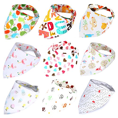 AnHong Baby Bandana Drool Bibs 9-Pack Gift Set Cute Floral Organic Cotton Baby Bibs for Boys, Girls (Baby girl)