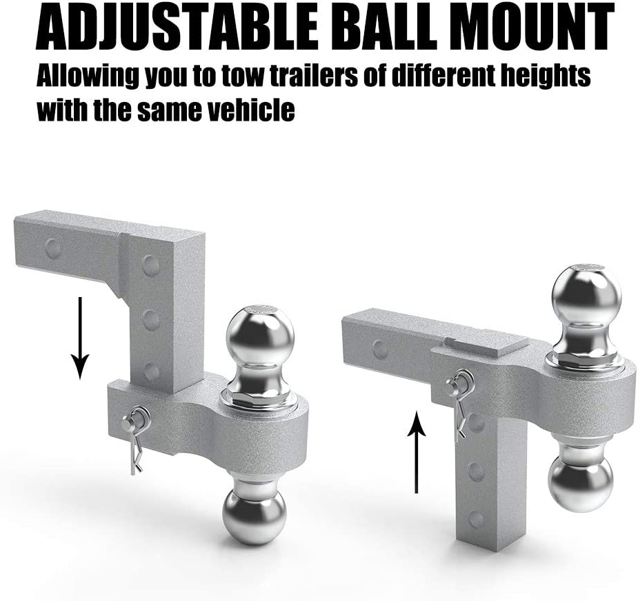 6 Drop//Rise Adjustable Trailer Hitch Ball Mount 5000 LBS Aluminum Rapid Hitch Fits 2 Receiver 2-Inch and 2-5//16-Inch Hitch Balls
