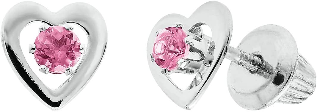 Helzberg Diamonds 14K White Gold Children's Birthstone Heart Earrings