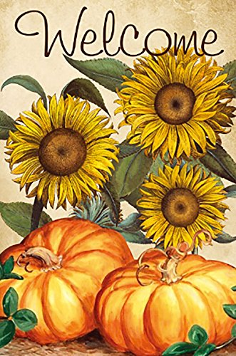 JOYPLUS Welcome Harvest Fall Sunflowers & Pumpkin Garden Flag - Vertical Double Sided Autumn Decorative Rustic/Farm House Small Decor Flags Set for Indoor & Outdoor Decoration, 12 X 18 Inch