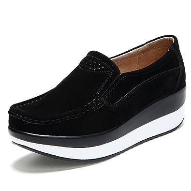 Z.SUO Womens Platform Walking Shoes Comfort Suede Drive Leather Shoes (5 US,