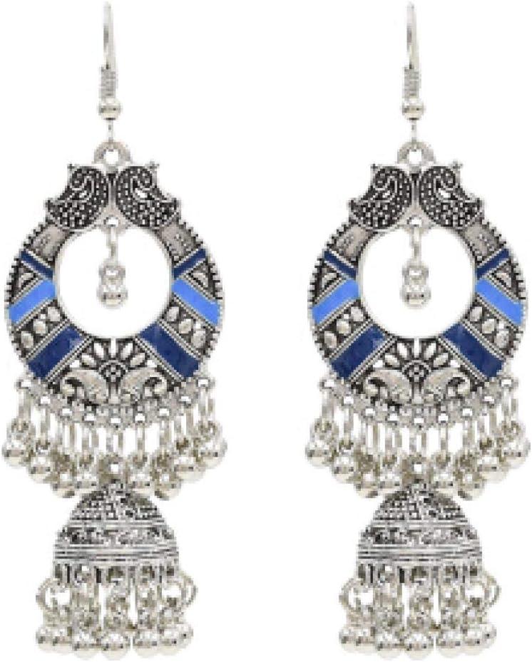ZIXIYAWEI Pendientes para Mujer Azul Egipto Vintage Aleación Campanas Cuentas Borla Pendientes Llamativos para Mujer Tribal Turca Gitana India Joyería Fiesta
