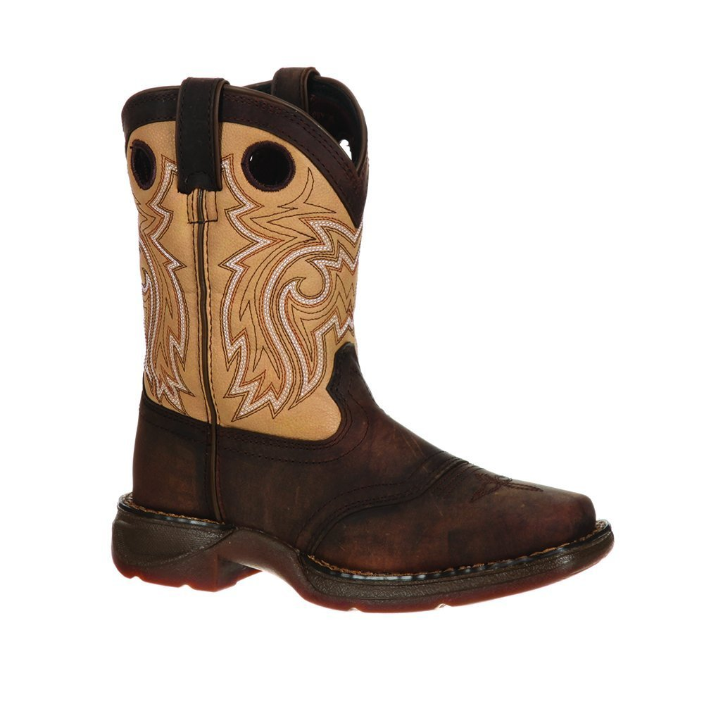 Durango Kid's Western 8'' Saddle Square Toe Boots, Brown Leather, 13.5 Little Kid M